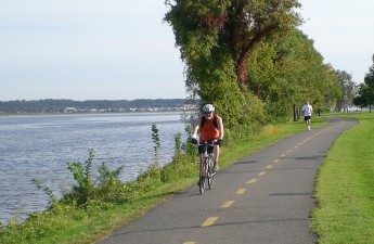 Biking along the river
