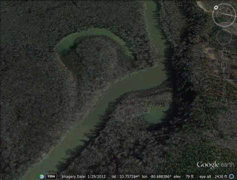 Devils Elbow (Google Earth)