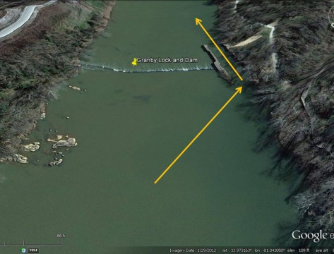 Granby Lock & Dam (Google Earth)